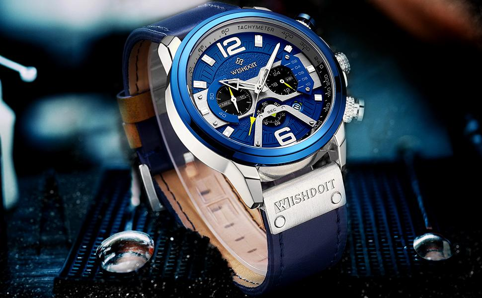 Multifunction Chronograph Black Steel Band Blue Men's Watch