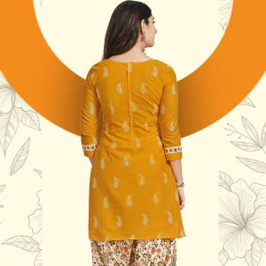 Miraan women's cotton unstitched dress material (SG118, yellow, free size) SPN-FOR1