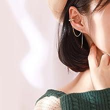 cuff earrings chain crawler earrings