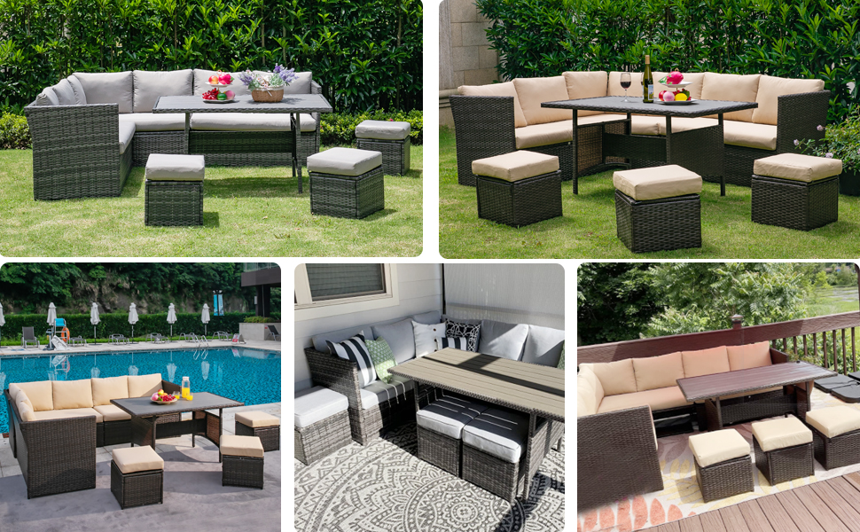 7 Piece Patio Dining Set Outdoor Sectional Sofa Conversation Set Wicker Rattan Couch Dining Set
