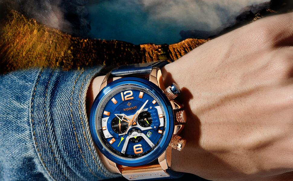 Blue rose gold chronograph multi-function men's watch with calendar