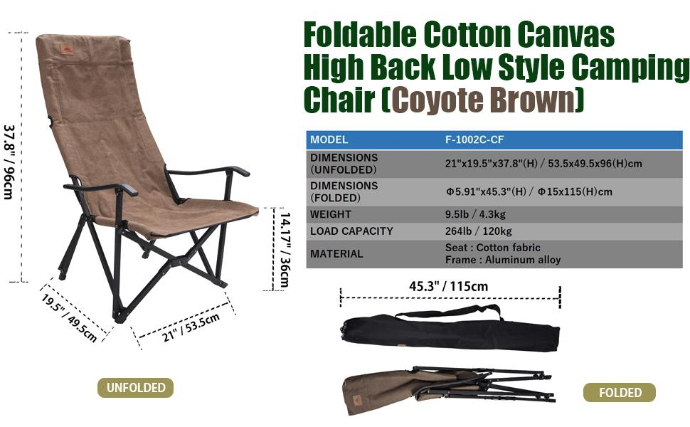 low style high back camping chair