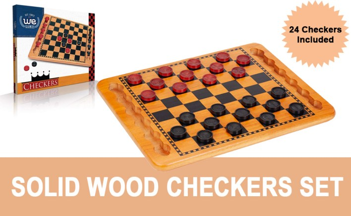 Solid Wood Checkers Set 24 checkers included