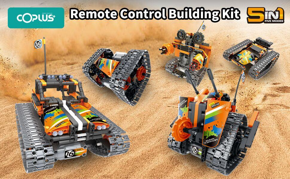 5 Models of the Remote Control STEM Building Kit. RC Tracked Racer / Stunt Car / Robot.