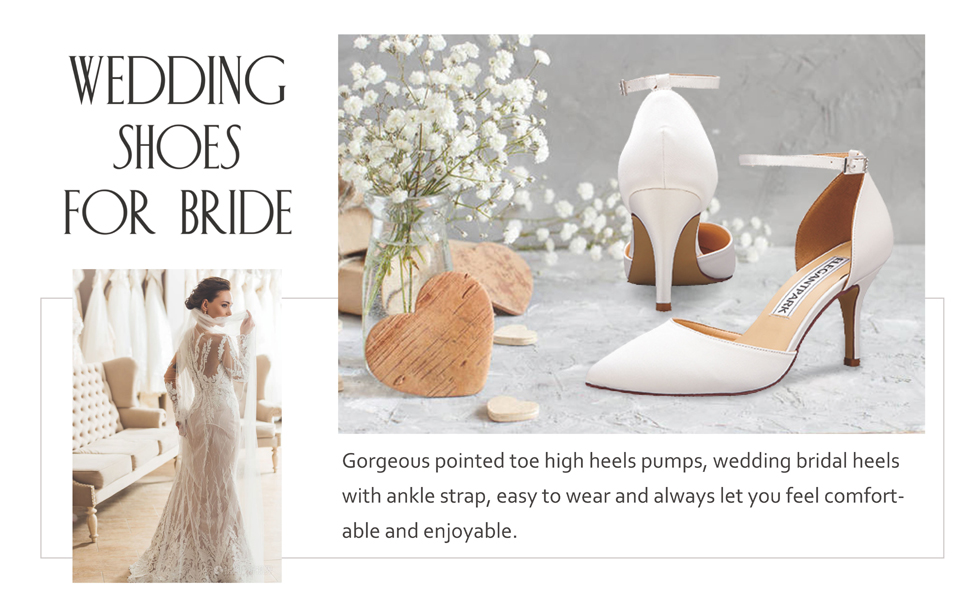 ivory heels for women wedding shoes for bride ankle strap pointed toe bridal evening dress pumps