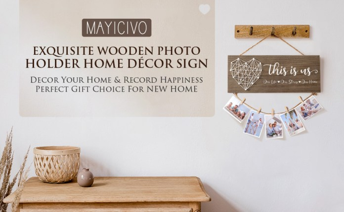 MAYICIVO Housewarming Gifts Photo Holder Couples Home Decor Sign