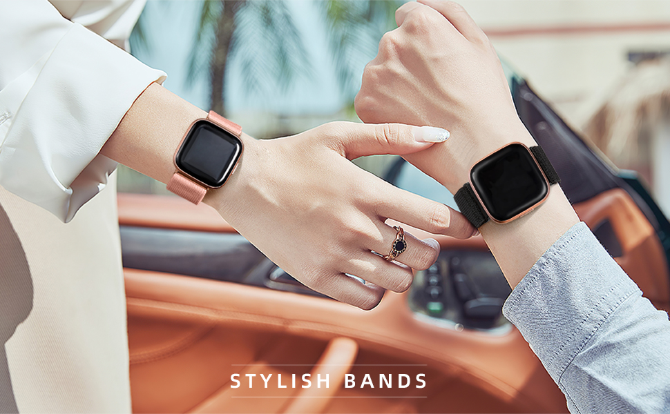 Maledan 3 Pack Elastic Band Compatible with Fitbit Versa/Fitbit Versa Lite/Fitbit Versa 2 Bands