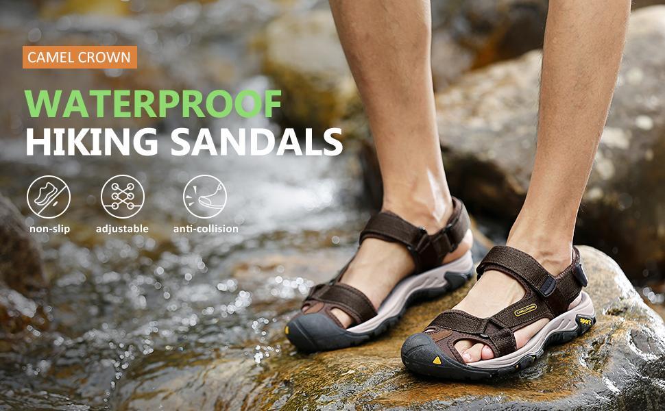 men's waterproof summer sandals closed toe hiking sandal athletic sandal  for water beach outdoor