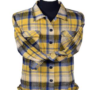 Flannel overshirts women schacket plaid yellow