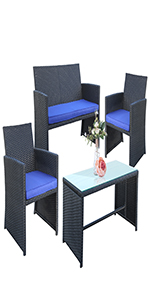 Patio Rattan Conversation Set 4pcs Outdoor Wicker Furniture w/Tempered Glass Table Thick Cushio