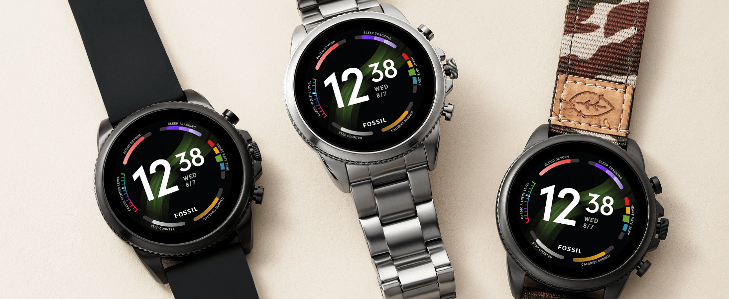 Fossil Gen 6 Smart Watches for Men with silicone, stainless steel and nylon straps