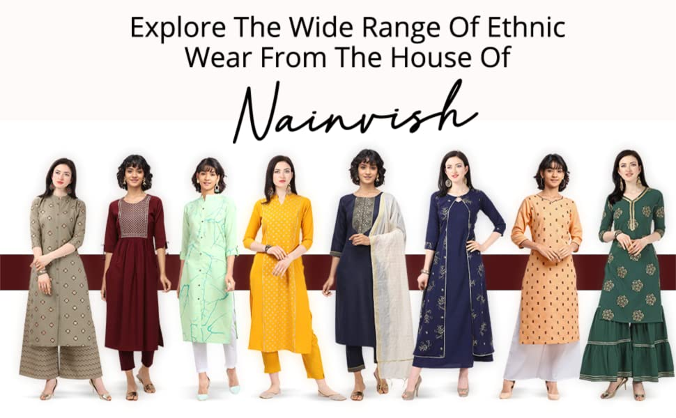 NAINVISH Women Maroon A-Line Crepe Kurti with Pant (SD092) SPN-FOR1