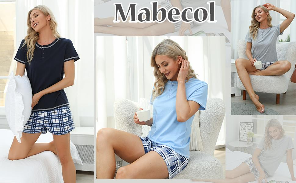 Mabecol Schlafanzug Damen Kurz Pyjama 3