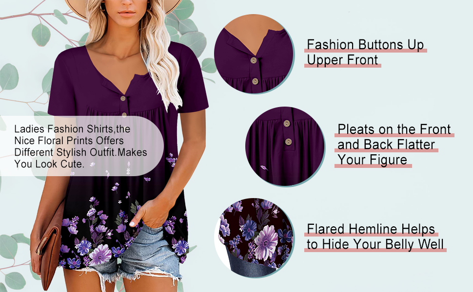 Woman's  Flowy Top Casual Tshirt Fit Flare with Buttons Up Pleated Blouse