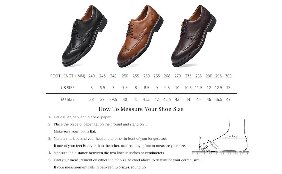 Men Full-grain Leather Dress Shoes Size Chart