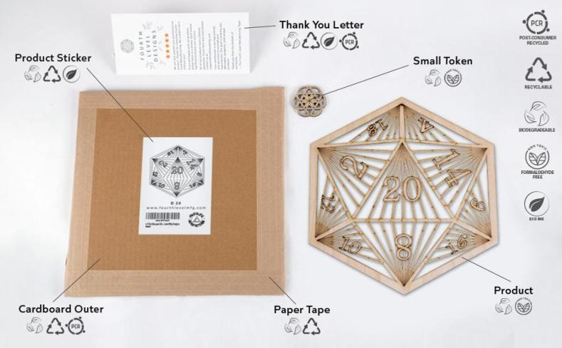 fourth level manufacturing wood wall laser cut art green packaging recyclable plastic free