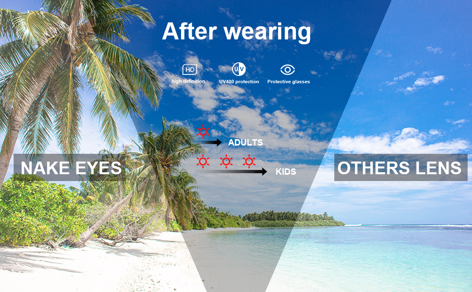 The excellent UV400 lens can block the damage of ultraviolet rays to eyes even in the fierce sun!