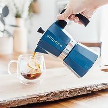 GROSCHE milano blue how to brew stovetop espresso step four