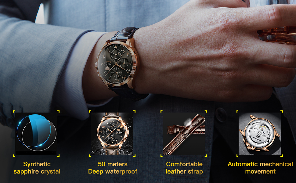 Luxury Mechanical Chronograph Brown Leather Watches for Mens