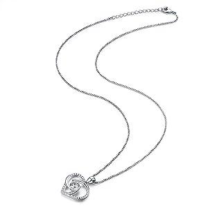 heart necklace,heart pendant necklace,zircon heart necklace,necklace for women