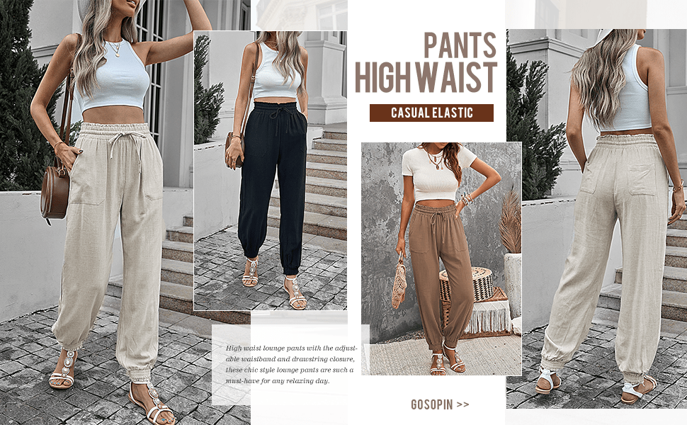 Women's Fashion Solid Color Drawstring Elastic Waist Pants Casual Trousers with Pockets