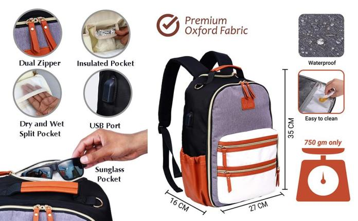 Fully Open Compartment Waterproof Oxford Anti theft Baby Diaper Bag Backpack Nappy Bag Mommy Bag