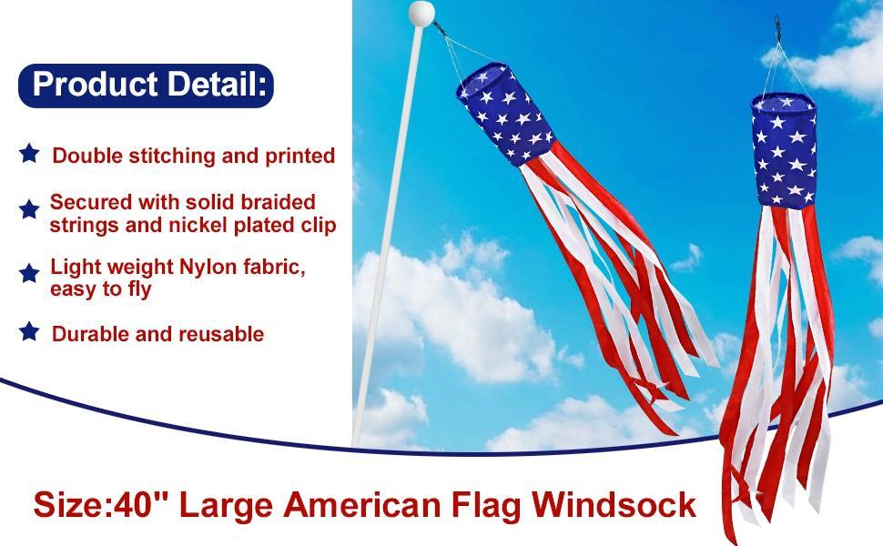 2 Pack American USA Flag Windsocks