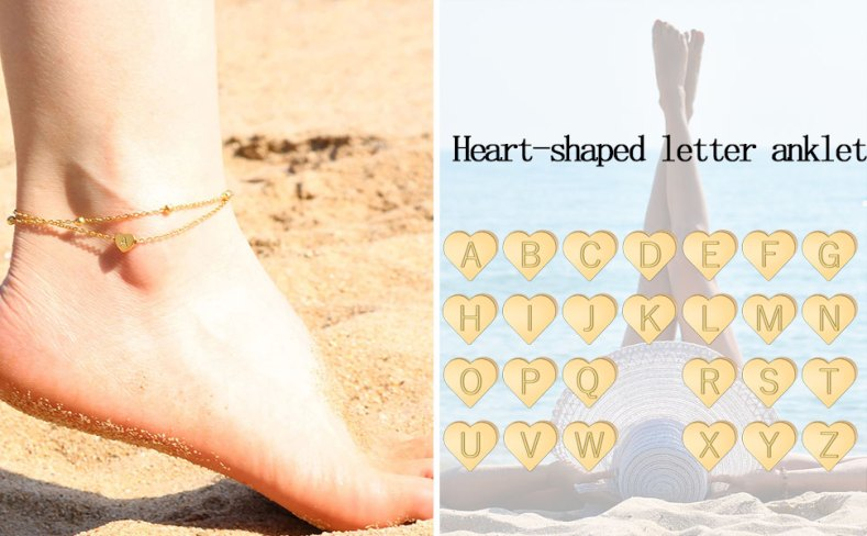 14K Real Gold Plated Letters A-Z Alphabet Anklets