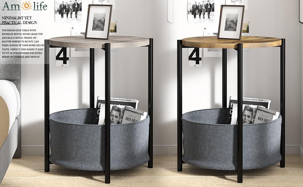 the round end table with espresso rustic wood grain top and black metal frame can fit ur home decor
