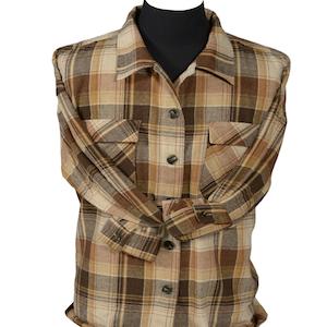 Flannel overshrits women shacket plaid khaki brown