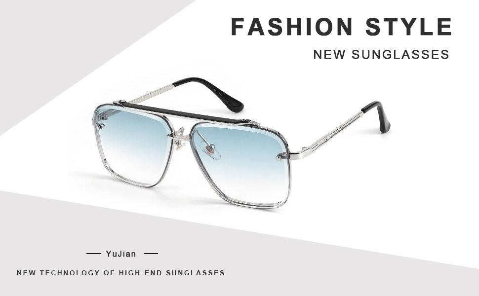 Aviator sunglasses: metal frame, acrylic material, gradient transparent lens