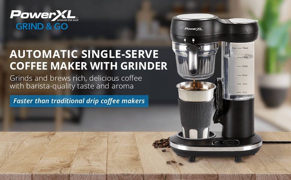 Automatic single serve coffee maker with grinder, powerxl grind and go