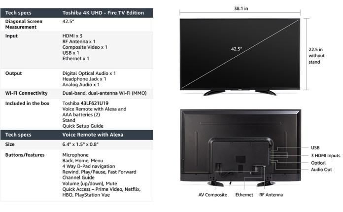 Amazon Com Toshiba 43lf621u19 43 Inch Smart 4k Uhd Tv Fire Tv Edition Electronics