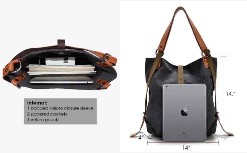 canvas bag backpack for women