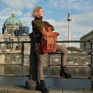 Berliner Bags Leather Backpack Vintage Brown Quality German European Men Women Style Chic