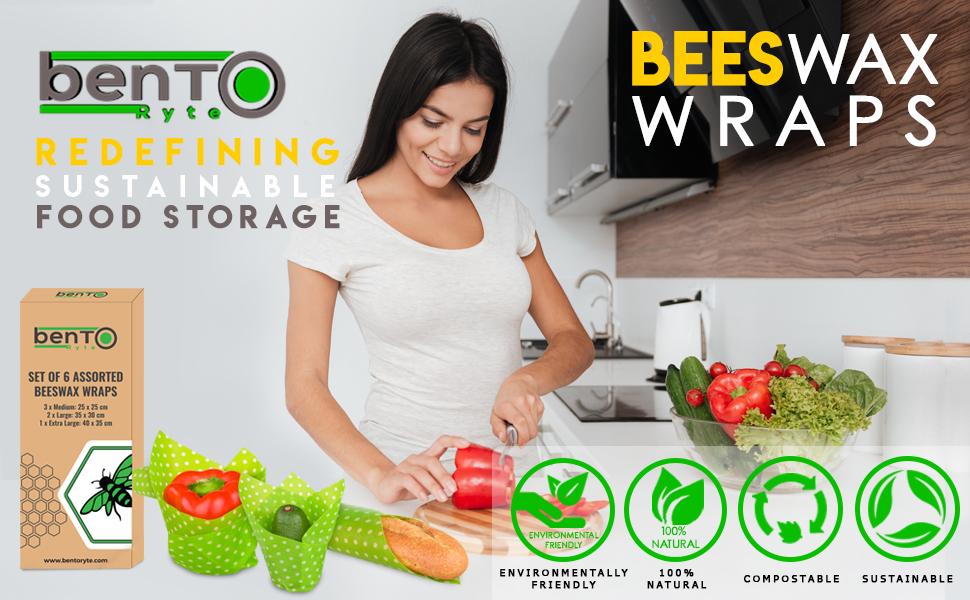 bentoryte, bento ryte, beeswax wraps, xl set, compostable
