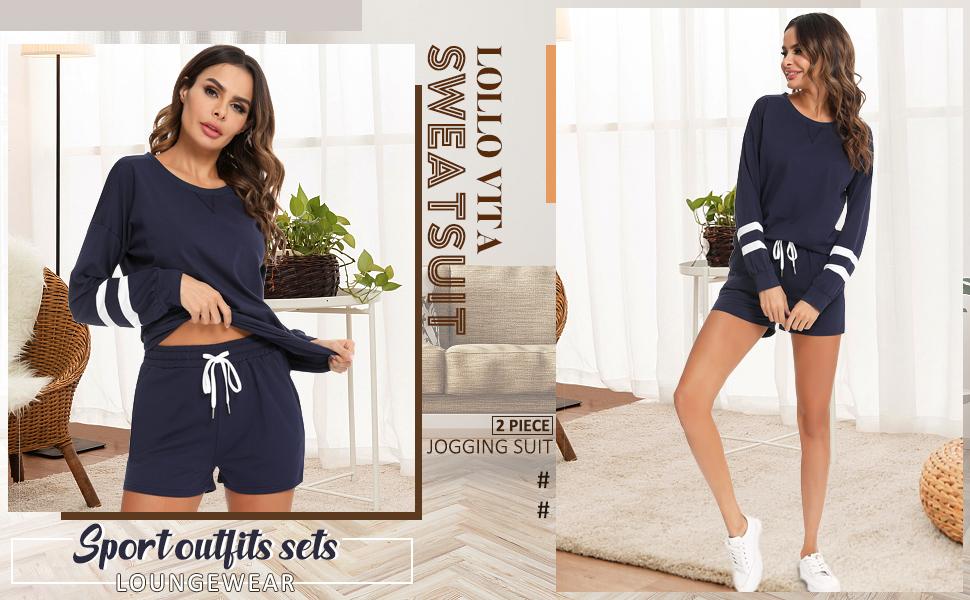Women's Two Piece Long Sleeve Tops and Pants Set Active Sweatsuits pijama set  basics lounge sets