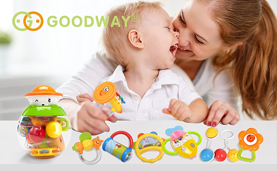 Baby Teether Rattles Toys Early Educational Gifts for 3,6,9,12 Month Newborn Infant Baby, Boy, Girl