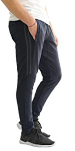 Ultimate Flex slim tapered fit jogger mens sweatpants with zipper pockets and open bottom leg zipper