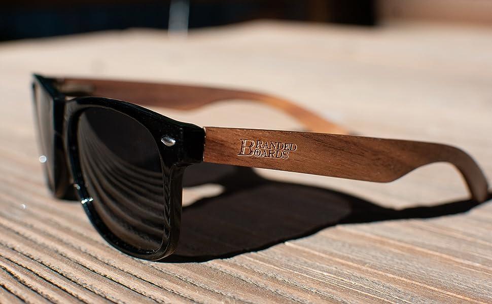 Walnut Black Wood Fishing Sport Sunglasses
