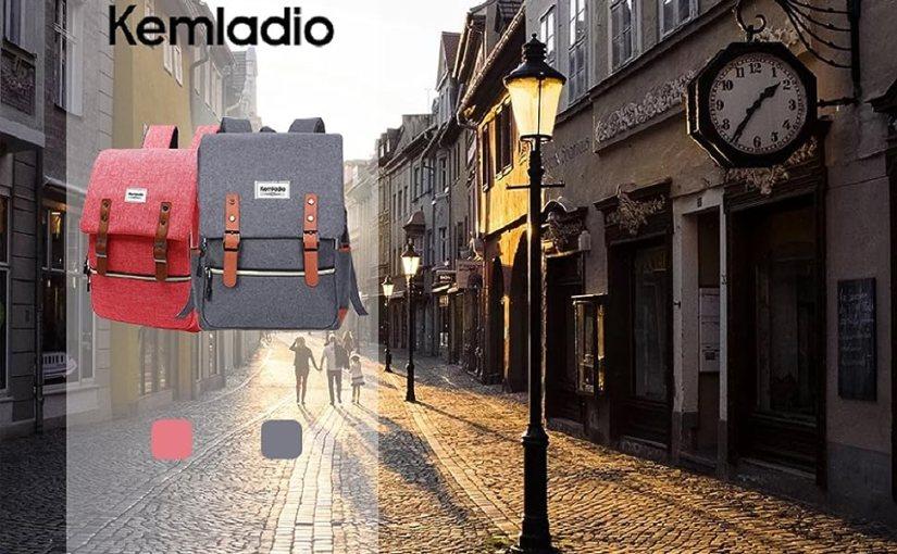vintage Backpack man women gray red
