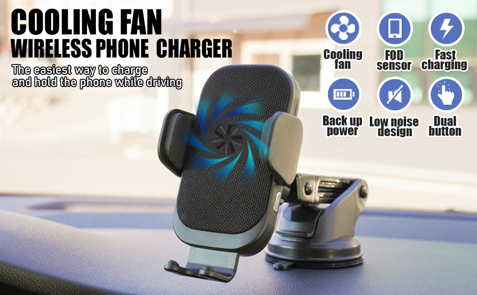 KMMOTORS cool fan wireless phone charger for automotive
