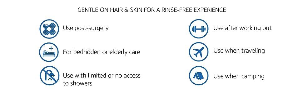 travel, waterless, rinse free, shampoo, body wash, no water, no rinse, elder care