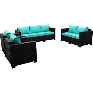 Patio Sectional Furniture Sofa Set 4 Pieces, Armrest chairs, Ottomans, loveseat, 3-seat Couch, Table