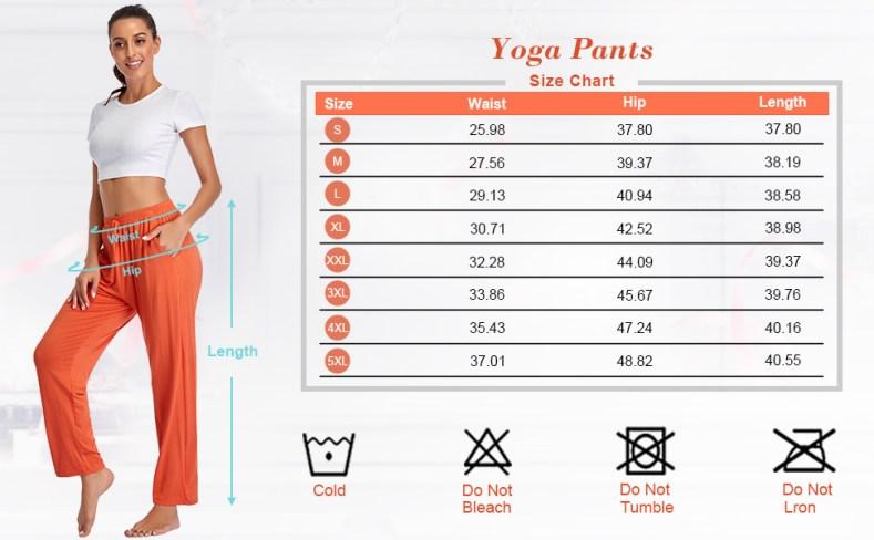 Lounge pants size chart