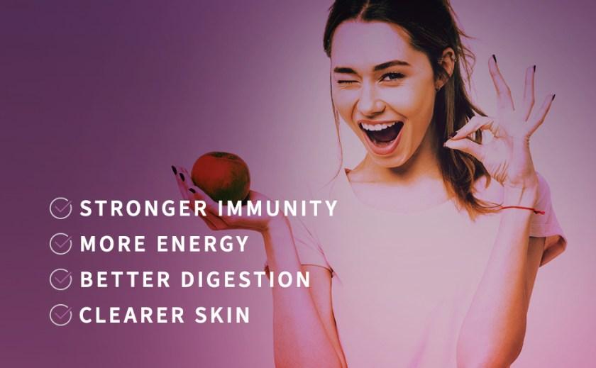 imunidade mais forte, mais energia, melhor digestão, pele mais clara