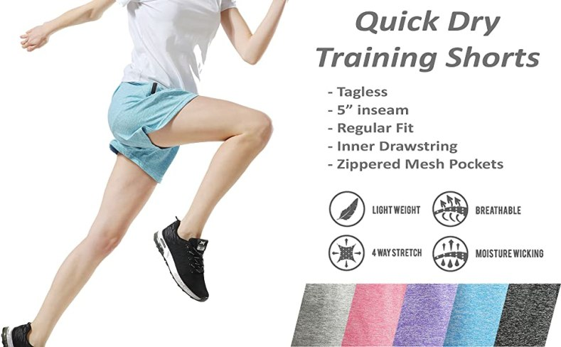 women's quick dry training shorts with pockets