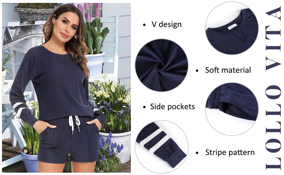 Womens sweater sets Pajamas Set PJ Set Pullover Sleepwear Loose Fit  2 Piece Lounge Jogger Set  2021