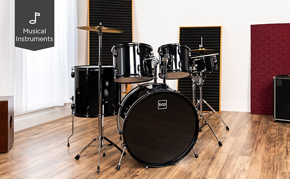 Drum set in room with icon