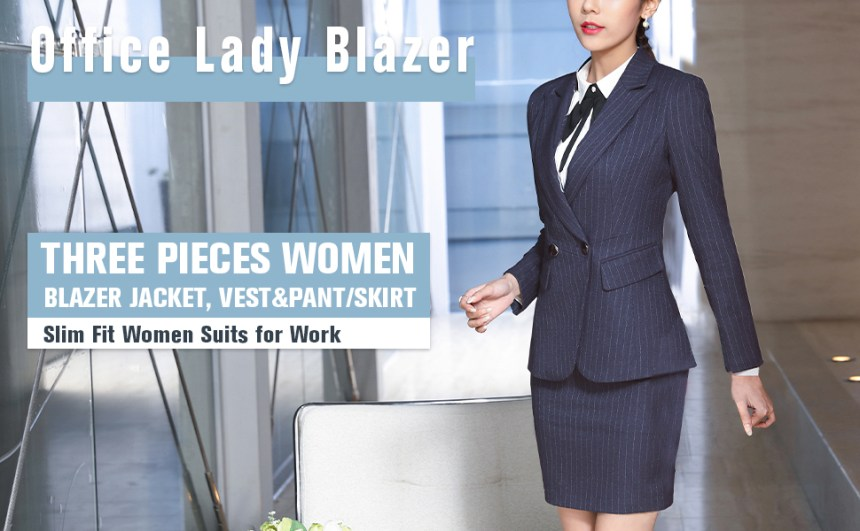 BLUE STRIPE WOMEN SUITS